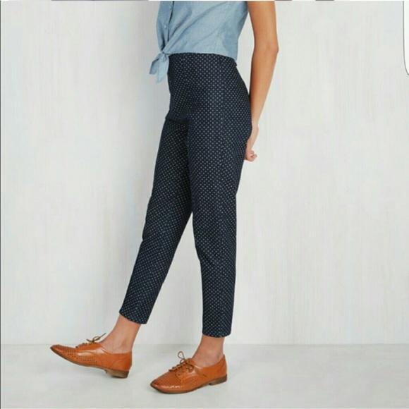 770b6dd8053 Modcloth Pants - ModCloth cloth navy polka dot ponte pants 1X